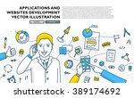 flat style  thin line art... | Shutterstock .eps vector #389174692