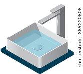 bathroom sink. isometric basin... | Shutterstock .eps vector #389220808