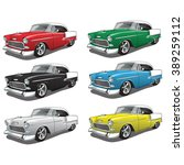 vintage classic car in multiple ... | Shutterstock .eps vector #389259112
