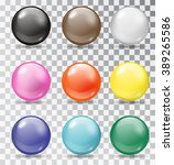 set of glossy balls on a... | Shutterstock .eps vector #389265586