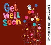 get well soon greeting card | Shutterstock .eps vector #389282086