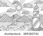 Seascape line art design for coloring book for adult, anti stress coloring - stock vector | Shutterstock vector #389283742
