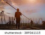 construction worker on... | Shutterstock . vector #389361115