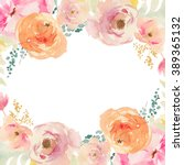Stock photo peach and orange watercolor flower frame background with floral elements 389365132