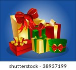 colorful gift boxes on blue... | Shutterstock . vector #38937199