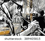 jazz trumpet player in a street ... | Shutterstock .eps vector #389405815