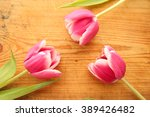 three pink tulips on bright... | Shutterstock . vector #389426482