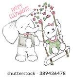 cute elephants   girl and dad
