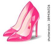 Vector Cartoon Pink Women Shoe...