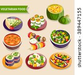 vegetarian dishes set with... | Shutterstock .eps vector #389447155