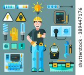electrician icons set with... | Shutterstock .eps vector #389447176