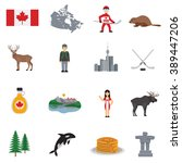 canada flat icons set  with map ... | Shutterstock .eps vector #389447206
