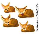 fennec fox lies and yawns.... | Shutterstock .eps vector #389476306