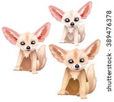 fennec fox. animals isolated on ... | Shutterstock .eps vector #389476378