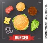 burger ingredients. burger... | Shutterstock .eps vector #389481046