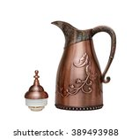 golden arabic coffee pot... | Shutterstock . vector #389493988