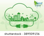 ecology connection electrical... | Shutterstock .eps vector #389509156