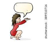 cartoon woman casting spel with ... | Shutterstock .eps vector #389510716