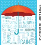 umbrella rain text poster.  | Shutterstock .eps vector #389513638