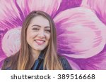young woman in urban landscape  ... | Shutterstock . vector #389516668