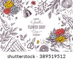 flower shop. linear graphic.... | Shutterstock .eps vector #389519512