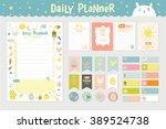 cute calendar daily planner... | Shutterstock .eps vector #389524738