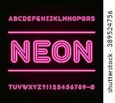 neon light alphabet font. type... | Shutterstock .eps vector #389524756