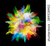 explosion of colored powder on... | Shutterstock . vector #389528902