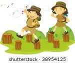 illustration of kids on white   Shutterstock .eps vector #38954125