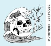human skull. decorative. line... | Shutterstock .eps vector #389547292