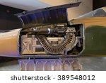 Machine gun and ammo installed on the figther jet aircraft. - stock photo