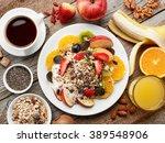 healthy breakfast ingredients...   Shutterstock . vector #389548906