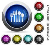 set of round glossy cutlery...