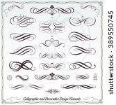 calligraphic decorative... | Shutterstock .eps vector #389550745