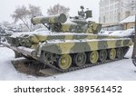 "Small photo of MOSCOW, RUSSIA-DECEMBER 15- T-80B-The world's first serial tank with a gas turbine engine, nicknamed the ""flying"" at the Museum of technique V.Zadorozhnyj on December 15;2015 in Moscow"