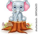 Stock vector cartoon cute baby elephant on tree stump 389565655