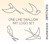 Stock vector one line swallow art logo set 389576356