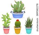 set of cute cartoon cactus into ... | Shutterstock .eps vector #389582278