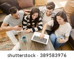group of friends study at the... | Shutterstock . vector #389583976