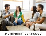 friends meeting at the local... | Shutterstock . vector #389583982