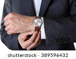 modern watch on a businessman's ...   Shutterstock . vector #389596432