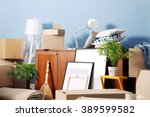 packed household goods for... | Shutterstock . vector #389599582