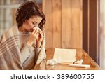 pleasant woman feeling ill | Shutterstock . vector #389600755