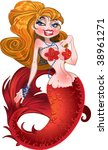 blond mermaid with red scales | Shutterstock .eps vector #38961271