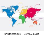 world map continents colors... | Shutterstock .eps vector #389621605