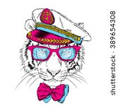 tiger in the captain's cap.... | Shutterstock .eps vector #389654308