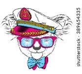 koala in the captain's cap.... | Shutterstock .eps vector #389654335