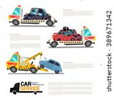 crane towing truck with broken... | Shutterstock .eps vector #389671342