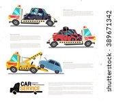 crane towing truck with broken... | Shutterstock .eps vector #389671342