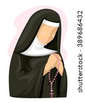 illustration of a nun clutching ...